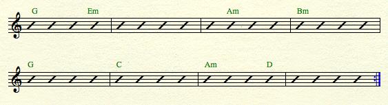 Gmaj-8bars harmonic rhythm